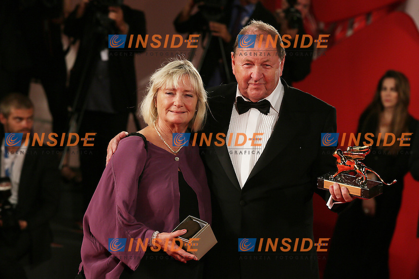 Venice, Italy - September 06: Roy Andersson with him wife winner the Gold Lion of  the 71st Venice Film Festival at Palazzo Del Cinema on September 06, 2014 in Venice, Italy. (Photo by Mark Cape/Inside Foto)<br /> Venezia, Italy - September 06: Roy Andersson con la sua moglie vincitore del Leone D'Oro al Palazzo Del Cinema, durante del 71st Venice Film Festival. Settenbre 06, 2014 Venezia, Italia. (Photo by Mark Cape/Inside Foto)