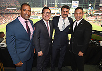 HOUSTON - OCTOBER 23: Fox Deportes broadcast team at World Series Game 2: Washington Nationals at Houston Astros on Fox Sports at Minute Maid Park on October 23, 2019 in Houston, Texas. (Photo by Frank Micelotta/Fox Sports/PictureGroup)