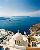 GREECE, Santorini, Fira, view of a chapel and the Mediterranean Sea as seen from the Sphinx Restaurant