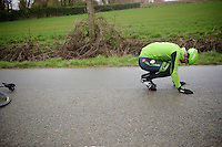 crash by Dylan van Baarle (NLD/Cannondale-Garmin)<br /> <br /> 77th Gent-Wevelgem 2015
