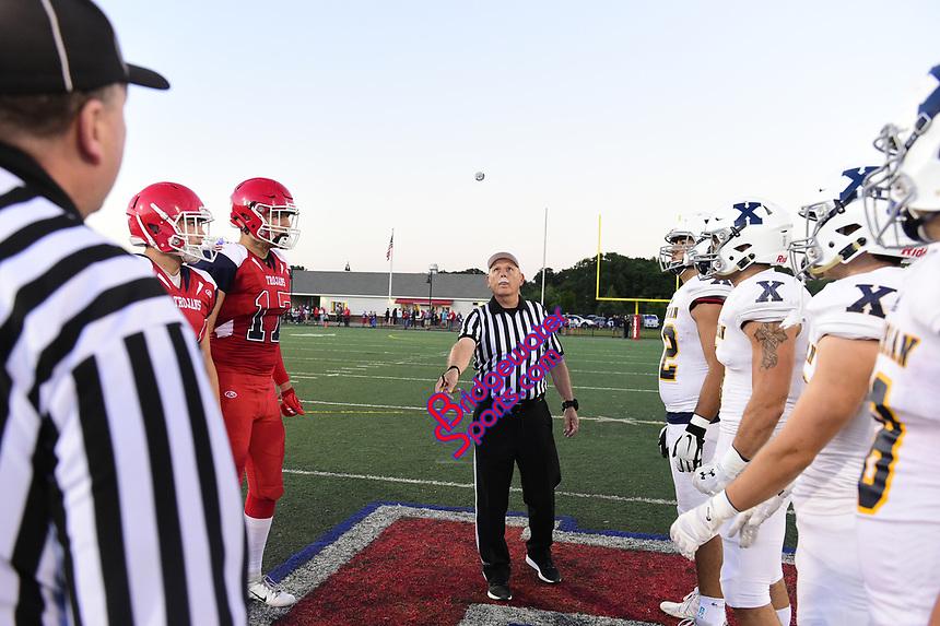 September 14, 2018:  Game action from the Bridgewater-Raynham vs Xaverian Brothers  varsity football game played at Bridgewater-Raynham High School in Bridgewater MA. Eric Canha/BridgewaterSports.com