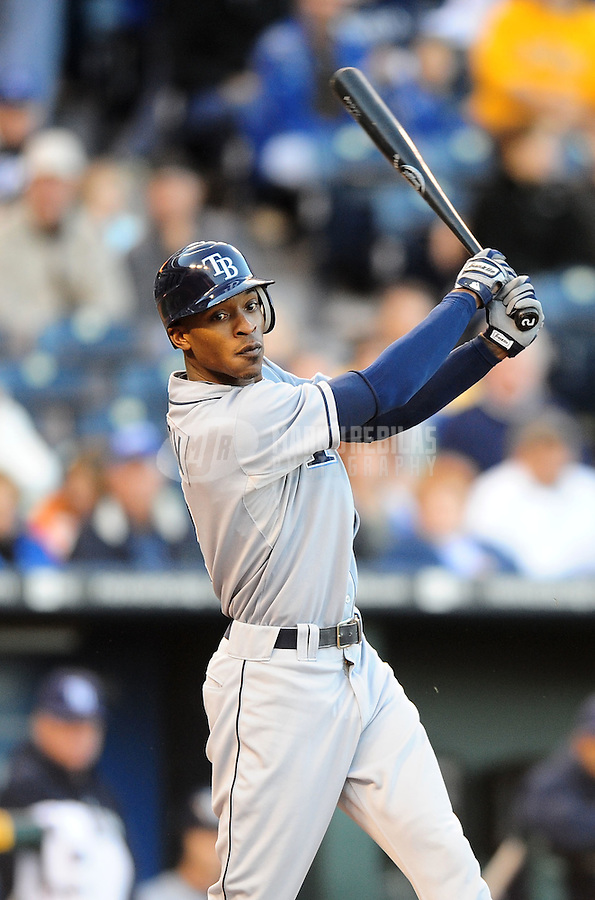 Oct. 2, 2010; Kansas City, MO, USA; Tampa Bay Rays outfielder B.J. Upton against the Kansas City Royals at Kauffman Stadium. Mandatory Credit: Mark J. Rebilas-
