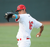 Pitcher Roberto Canache (16) of the Johnson City Cardinals, Appalachian League affiliate of the St. Louis Cardinals, prior to a game against the Danville Braves on August 19, 2011, at Howard Johnson Field in Johnson City, Tennessee. Danville defeated Johnson City, 5-4, in 16 innings. (Tom Priddy/Four Seam Images)