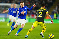 11th January 2020; King Power Stadium, Leicester, Midlands, England; English Premier League Football, Leicester City versus Southampton; Harvey Barnes of Leicester City shadows Cedric Soares of Southampton - Strictly Editorial Use Only. No use with unauthorized audio, video, data, fixture lists, club/league logos or 'live' services. Online in-match use limited to 120 images, no video emulation. No use in betting, games or single club/league/player publications