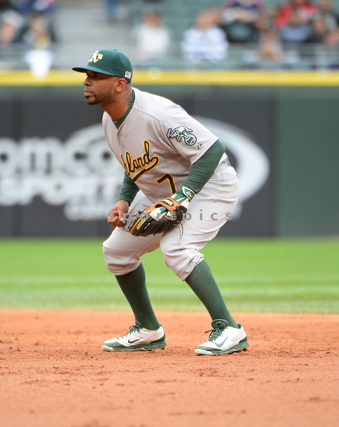 Oakland A's Alberto Callaspo (7) during a game against the Chicago White Sox on September 11, 2014 at US Cellular Field in Chicago, IL. The Sox beat the A's 1-0.