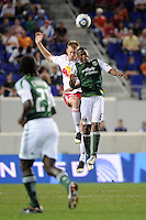 Tim Ream (5) of the New York Red Bulls and Darlington Nagbe (6) of the Portland Timbers. The New York Red Bulls defeated the Portland Timbers 2-0 during a Major League Soccer (MLS) match at Red Bull Arena in Harrison, NJ, on September 24, 2011.