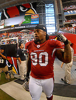 Oct. 16, 2006; Glendale, AZ, USA; Arizona Cardinals defensive tackle (90) Darnell Dockett against the Chicago Bears at University of Phoenix Stadium in Glendale, AZ. Mandatory Credit: Mark J. Rebilas