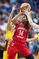 Washington, DC - July 22, 2016: Washington Mystics guard Tierra Ruffin-Pratt (14) goes up strong to the basket during game against the Los Angeles Sparks at the Verizon Center in Washington, DC. (Photo by Phil Peters/Media Images International)