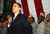 Baghdad, Iraq - April 7, 2009 -- United States President Barak Obama visited Al Faw Palace on Camp Victory, Iraq, Tuesday,  April 7, 2009.  This was Obama's first visit to Iraq as commander in chief and he made time to talk to service members and civilians serving here..Credit: Joy Pariante - DoD via CNP