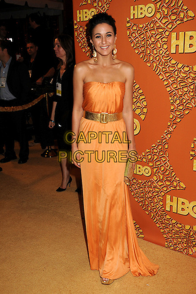 EMMANUELLE CHRIQUI.HBO's 2010 67th Golden Globe Awards Post Party held at the Beverly Hilton Hotel, Beverly Hills, California, USA. .January 17th, 2009 .globes full length maxi dress belt clutch bag orange strapless gold green.CAP/ADM/BP.©Byron Purvis/Admedia/Capital Pictures