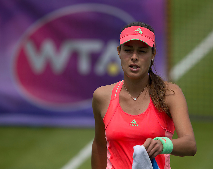 [2] Ana Ivanovic (SRB) in action during her defeat by [Q] Michelle Larcher De Brito (POR) in their Women&rsquo;s Singles Second Round match today - Michelle Larcher De Brito (POR) def Ana Ivanovic (SRB) 6-4 3-6 7-6 (6)<br /> <br /> Photographer Stephen White/CameraSport<br /> <br /> Tennis - WTA International - Aegon  Classic - Day 3 - Wednesday 17th June 2015 - Edgbaston Priory Club - Birmingham<br /> <br /> &copy; CameraSport - 43 Linden Ave. Countesthorpe. Leicester. England. LE8 5PG - Tel: +44 (0) 116 277 4147 - admin@camerasport.com - www.camerasport.com