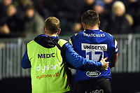 Will Vaughan of Bath Rugby is helped off the field. Premiership Rugby Cup match, between Bath Rugby and Gloucester Rugby on February 3, 2019 at the Recreation Ground in Bath, England. Photo by: Patrick Khachfe / Onside Images