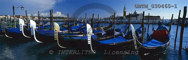 Tom Mackie, LANDSCAPES, panoramic, photos, Gondolas, & St. Giorgio Maggiore, Venice, Italy, GBTM030465-1,#L#