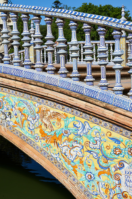 Tiled stair balistrades of the Plaza de Espana in Seville built in 1928 for the Ibero-American Exposition of 1929, Seville Spain