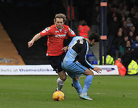 Craig MacKail-Smith of Luton Town is fouled during the Sky Bet League 2 match between Luton Town and Wycombe Wanderers at Kenilworth Road, Luton, England on 26 December 2015. Photo by Liam Smith.
