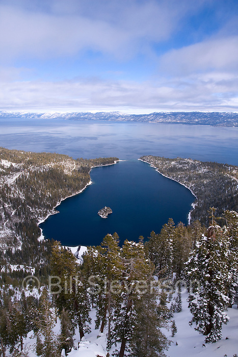 A photo of Emerald bay and Lake Tahoe from the top of Maggie's Peak on a snowy winter day