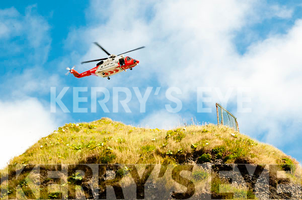 Ballybunion Sea & Cliff Rescue: The Shannon based helicopter of the Irish Coast Guard flying over Ballybunion Beach at the  Ballybunion Sea & Cliff Rescue celebrations of  their 30th birthday at their centre on the women's beach in Ballybunion on Sunday last.