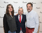 Pam MacKinnon, Jordan Harrison and Tim Sanford attends the Opening Night Performance of the Playwrights Horizons world premiere production of 'Log Cabin' on June 25, 2018 at Playwrights Horizons in New York City.