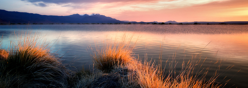 Sunrise on borax pond with Steens mountain.  Borax Lake Preserve, Oregon