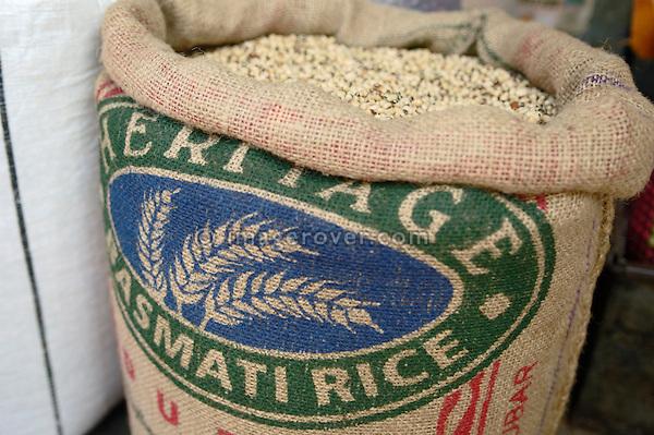 Canvas sack of basmati rice at Mysore market, Karnataka, India. No releases available.