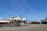 Port Townsend, Boat Haven Marina, Puget Sound, Washington State, boats hauled out in boatyard, Jefferson County, Olympic Peninsula, Pacific Northwest, United States,