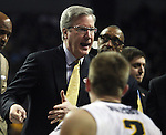 Iowa Head Coach Fran McCaffery instructs his team during a timeout in their game against Davidson during 2015 NCAA Division I Men's Basketball Championship March 20, 2015 at the Key Arena in Seattle, Washington.  Iowa beat Davidson 83-52.