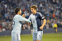 Claudio Bieler celebrates his goal with Matt Besler..Sporting Kansas City defeated Montreal Impact 2-0 at Sporting Park, Kansas City, Kansas.