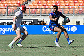 3rd February 2019, Spotless Stadium, Sydney, Australia; HSBC Sydney Rugby Sevens; England versus USA Mens semi final; Maceo Brown of the United States of America looks for options as Phil Burgess of England approaches
