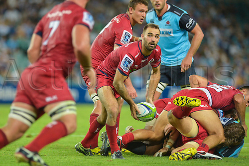 27.02.2016.  Sydney, Australia. Super Rugby. NSW Waratahs versus Queensland Reds. Reds scrum half Nick Frisby. The Waratahs won 30-10.