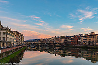 Italy, Florence Arno river lanscape at the sunset