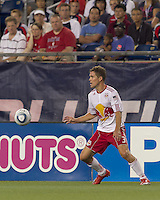 New York Red Bulls defender Chris Albright (3) controls the ball. In a Major League Soccer (MLS) match, the New England Revolution tied New York Red Bulls, 2-2, at Gillette Stadium on August 20, 2011.