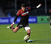 Hendon, England. Nils Mordt © of Saracens  kicks a conversion during the LV= Cup match for the first professional rugby game on the artificial turf pitch made for rugby between Saracens and Cardiff Blues at Allianz Park Stadium on January 27, 2013 in Hendon, England.