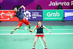 Arisa Higashino &  Yuta Watanabe (JPN), <br /> AUGUST 23, 2018 - Badminton : <br /> Mixed DoublesÄRound of 32 <br /> at Gelora Bung Karno Istora <br /> during the 2018 Jakarta Palembang Asian Games <br /> in Jakarta, Indonesia. <br /> (Photo by Naoki Nishimura/AFLO SPORT)
