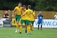 Dylan Merchant  (L) of Horsham celebrates his goal in the first half during Horsham vs Hartley Wintney, Friendly Match Football at Hop Oast on 13th July 2019