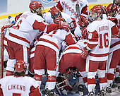 Badger huddle - The University of Wisconsin Badgers defeated the Boston College Eagles 2-1 on Saturday, April 8, 2006, at the Bradley Center in Milwaukee, Wisconsin in the 2006 Frozen Four Final to take the national Title.