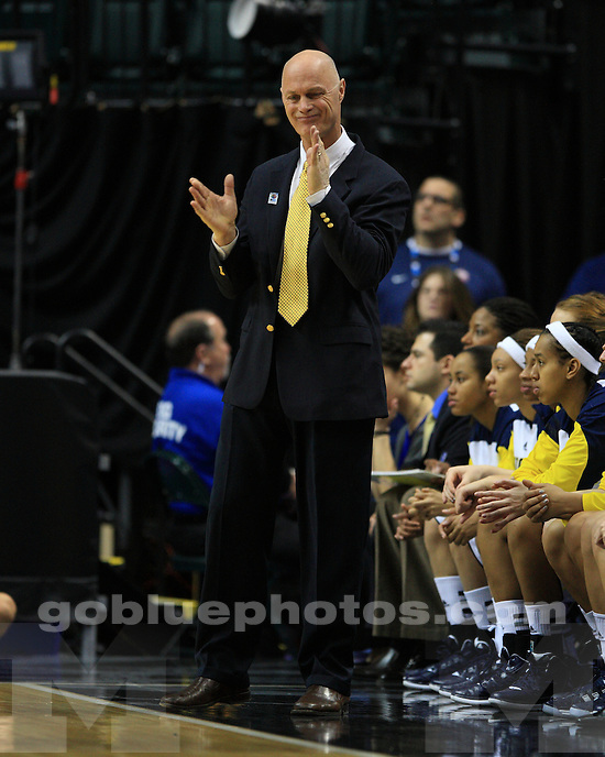 The University of Michigan's women's basketball team defeated Illinois in the first round of the 2012 Big Ten Tournament at Banker's Life Fieldhouse in Indianapolis, Ind., on March 1, 2012.