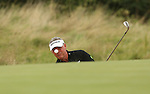 Darren Clark splashes out of the sand on the 2nd hole during the second round of the ISPS Handa Wales Open 2013 at the Celtic Manor Resort<br /> <br /> 30.08.13<br /> <br /> ©Steve Pope-Sportingwales