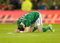 5th March 2014; Ireland's Shane Long reacts after missing a goal scoring opportunity.  International Friendly, Republic of Ireland v Serbia, Aviva Stadium, Dublin. Picture credit: Tommy Grealy / actionshots.ie