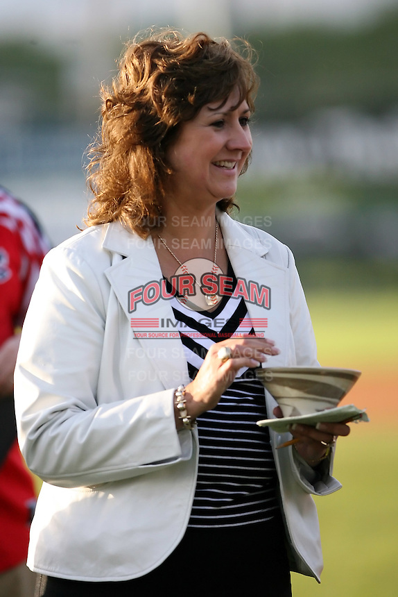June 18th 2008:  Rochester Red Wings Chairman of the Board Naomi Silver during opening ceremonies for the Batavia Muckdogs at Dwyer Stadium in Batavia, NY.  Photo by:  Mike Janes/Four Seam Images