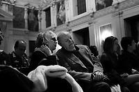 Milano: Dario Fo e Franca Rame durante la cerimonia di conferimento della cittadinanza onoraria da parte della città di Milano a Roberto Saviano...Milan: Dario Fo and Franca Rame
