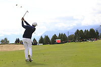 Matthew Fitzpatrick (ENG) plays his 2nd shot on the 17th hole during Sunday's Final Round of the 2017 Omega European Masters held at Golf Club Crans-Sur-Sierre, Crans Montana, Switzerland. 10th September 2017.<br /> Picture: Eoin Clarke | Golffile<br /> <br /> <br /> All photos usage must carry mandatory copyright credit (&copy; Golffile | Eoin Clarke)