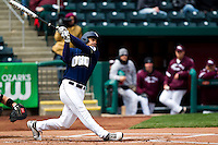 Chris Elder (12) of the Oral Roberts Golden Eagles swings and misses at a pitch during a game against the Missouri State Bears on March 27, 2011 at Hammons Field in Springfield, Missouri.  Photo By David Welker/Four Seam Images