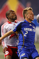 Kansas City Wizards midfielder Michael Harrington (2) and New York Red Bulls midfielder Dane Richards (19). The New York Red Bulls and the Kansas City Wizards played to a 1-1 tie during a Major League Soccer match at Giants Stadium in East Rutherford, NJ, on May 17, 2008.