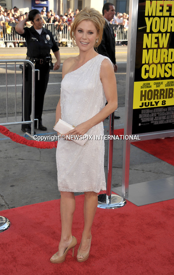 """JULIE BOWEN.attends the Los Angeles Premiere of """"Horrible Bosses""""  Grauman's Chinese Theatre, Hollywood, Los Angeles, California_30/06/2011.Mandatory Photo Credit: ©Crosby/Newspix International. .**ALL FEES PAYABLE TO: """"NEWSPIX INTERNATIONAL""""**..PHOTO CREDIT MANDATORY!!: NEWSPIX INTERNATIONAL(Failure to credit will incur a surcharge of 100% of reproduction fees).IMMEDIATE CONFIRMATION OF USAGE REQUIRED:.Newspix International, 31 Chinnery Hill, Bishop's Stortford, ENGLAND CM23 3PS.Tel:+441279 324672  ; Fax: +441279656877.Mobile:  0777568 1153.e-mail: info@newspixinternational.co.uk"""