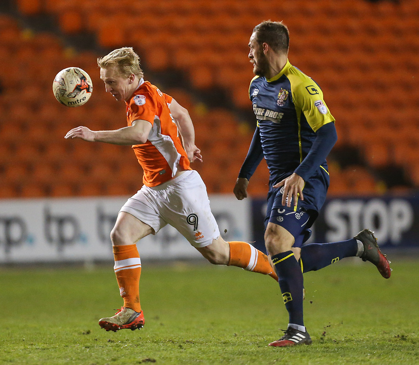 Blackpool's Mark Cullen gets away from Stevenage's Luke Wilkinson<br /> <br /> Photographer Alex Dodd/CameraSport<br /> <br /> The EFL Sky Bet League Two - Blackpool v Stevenage - Tuesday 14th March 2017 - Bloomfield Road - Blackpool<br /> <br /> World Copyright &copy; 2017 CameraSport. All rights reserved. 43 Linden Ave. Countesthorpe. Leicester. England. LE8 5PG - Tel: +44 (0) 116 277 4147 - admin@camerasport.com - www.camerasport.com
