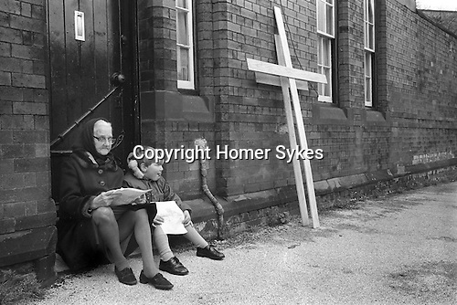 Good Friday Christian Procession suburbs of Liverpool near Burscough Lancashire Easter Good Friday 1974