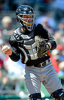 Miami Marlins catcher Koyie Hill #32 during a Spring Training game against the Boston Red Sox at JetBlue Park on March 27, 2013 in Fort Myers, Florida.  Miami defeated Boston 5-1.  (Mike Janes/Four Seam Images)