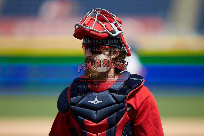 Columbus Clippers catcher Eric Haase (13) on defense against the Durham Bulls at Durham Bulls Athletic Park on June 1, 2019 in Durham, North Carolina. The Bulls defeated the Clippers 11-5 in game one of a doubleheader. (Brian Westerholt/Four Seam Images)