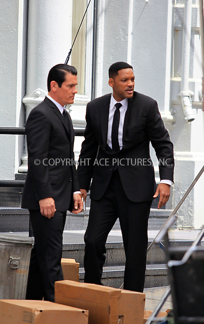 WWW.ACEPIXS.COM . . . . .  ....June 7 2011, New York City....Actors Josh Brolin and Will Smith on the set of Men in Black  in Soho on June 7 2011 in New York City....Please byline: CURTIS MEANS - ACE PICTURES.... *** ***..Ace Pictures, Inc:  ..Philip Vaughan (212) 243-8787 or (646) 679 0430..e-mail: info@acepixs.com..web: http://www.acepixs.com