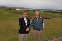 Liam Breen (Captain Rosapenna Golf Resort) and Con Boyce (Rosapenna) after the Ulster Seniors Open Championship at Rosapenna Golf Resort in Downings, Donegal, Ireland.<br /> <br /> Picture: Thos Caffrey / Golffile<br /> <br /> All photo usage must carry mandatory copyright credit (&copy; Golffile | Thos Caffrey)
